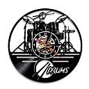 levne Nástěnné hodiny-1ks kytara buben sada silueta vedl podsvícený hudební skupina moderní vinyl hodiny nástěnné hodiny