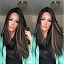 billige Syntetiske blondeparykker-Syntetiske parykker Kinky Glat Stil Mellemdel Lågløs Paryk Mørkebrun Beige Syntetisk hår 34 inch Dame Dame Mørkebrun Paryk Meget lang Naturlig paryk