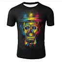 お買い得  オートバイ用バッグ-男性用 プリント プラスサイズ Tシャツ ラウンドネック ギャラクシー / 3D / スカル ブラック