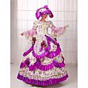 זול תחפושות מהעולם הישן-רוקוקו ויקטוריאני המאה ה 18 שמלות תחפושת למסיבה נשף מסכות בגדי ריקוד נשים תחפושות סגול וינטאג Cosplay תחרה כותנה ארוך נשף / פרחוני / כובע