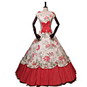 cheap Historical & Vintage Costumes-Princess Rococo Victorian 18th Century Costume Women's Dress Party Costume Costume Red Vintage Cosplay Masquerade Party & Evening Short Sleeve Off Shoulder Floor Length Long Length Plus Size