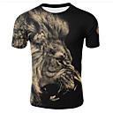 abordables Camisas de Hombre-Hombre Tallas Grandes Estampado Camiseta, Escote Redondo 3D Negro XXL