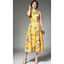 cheap Vintage Dresses-Women's Vintage Slim Swing Dress - Floral Yellow L XL XXL