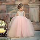 abordables Vêtements de Fitness, de Course et de Yoga-Bébé Fille Le style mignon Fleur Maille Sans Manches Maxi Polyester Robe Rose Claire