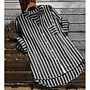 preiswerte Synthetische Perücken ohne Kappe-Damen Gestreift Hemd, V-Ausschnitt Leicht Blau XXXL