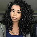 abordables Perruques Synthétiques Dentelle-Perruque Synthétique Afro Kinky Style Partie latérale Sans bonnet Perruque Noir Noir Naturel Cheveux Synthétiques 12 pouce Femme Pour Cheveux Africains Noir Perruque Longueur moyenne Perruque