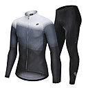 cheap Cycling Underwear & Base Layer-Nuckily Men's Long Sleeve Cycling Jersey with Tights - White Green Gradient Bike Clothing Suit Breathable Sports Polyester Spandex Geometric Mountain Bike MTB Road Bike Cycling Clothing Apparel