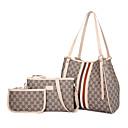 povoljno Komplet torbi-Žene Patent-zatvarač PU Bag Setovi Kompleti za vrećice Prugasti uzorak 3 kom Crn / Braon / Obala / Jesen zima