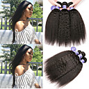 halpa Aitohiusperuukit-6 pakettia Perulainen Yaki Yaki Straight Virgin-hius 100% Remy Hair Weave -paketit Headpiece Hiukset kutoo Bundle Hair 8-28 inch Luonnollinen Hiukset kutoo Muodikas malli Säihkyvä Helppo Carry