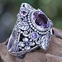 levne Prsteny-Dámské Fialová Ametyst Solitaire Prsten Zásnubní prsten Stříbrná láska Luxus Vintage Fashion Ring Šperky Fialová Pro Svatební Zásnuby