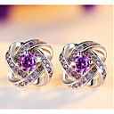 cheap Earrings-Women's Purple White Crystal Stud Earrings Emerald Cut Vintage Sweet Cute S925 Sterling Silver Earrings Jewelry White / Purple For Wedding Party Daily 1 Pair