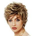 halpa Synteettiset peruukit ilmanmyssyä-Synteettiset peruukit / Otsatukat Kihara Tyyli Vapaa osa Suojuksettomat Peruukki Kulta Vaalea kulta Synteettiset hiukset 12 inch Naisten Cute / Muodikas malli / Naisten Kulta Peruukki Lyhyt
