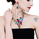 cheap Human Hair Wigs-Women's Crystal Jewelry Set Imitation Diamond Peacock Sweet Include Drop Earrings Necklace Dark Blue / Rainbow / Pink For Wedding Party