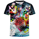 billige TV-bokse-Rund hals Herre - 3D / Regnbue Trykt mønster Plusstørrelser T-shirt Regnbue XXXXL