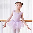 billige Dansetøj til børn-Dansetøj til børn / Ballet Kjoler Pige Træning / Ydeevne Bomuld / Elastin Sløjfe(r) / Blonde / Ruche Uden ærmer Naturlig Kjole