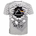 cheap Men's Boots-Men's Daily T-shirt - Geometric / 3D / Letter Print Round Neck White XXXXL / Short Sleeve