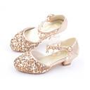 זול עקבים קטנים עבור בני נוער-בנות נוחות / נעליים לילדת הפרחים PU עקבים פעוט (9m-4ys) / ילדים קטנים (4-7) / ילדים גדולים (7 שנים +) הליכה נצנצים זהב / כסף / ורוד קיץ / גומי