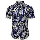 billige Herreskjorter-Herre - Blomstret / Geometrisk / Grafisk Bomuld, Trykt mønster EU / US størrelse Skjorte Navyblå XL