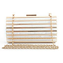 cheap Jewelry Sets-Women's Chain Evening Bag Acrylic / Polyester Striped Black / Blushing Pink / Almond / Fall & Winter