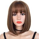 halpa Synteettiset peruukit verkolla-Synteettiset peruukit / Otsatukat Kinky Straight Tyyli Bob-leikkaus Suojuksettomat Peruukki Ruskea Ruskea / Burgundy Synteettiset hiukset 14 inch Naisten Muodikas malli / Pehmeä / Naisten Ruskea