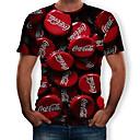 billige Bordlamper-Rund hals T-skjorte Herre - 3D, Trykt mønster Rød
