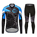cheap Cycling Jersey & Shorts / Pants Sets-MUBODO Men's Long Sleeve Cycling Jersey with Tights - Blue Bike Clothing Suit Breathable Quick Dry Reflective Strips Sports Mesh Mountain Bike MTB Road Bike Cycling Clothing Apparel / Stretchy
