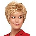 halpa Synteettiset peruukit ilmanmyssyä-Otsatukat Kihara Tyyli Pixie-leikkaus Suojuksettomat Peruukki Kulta Vaalea kulta Synteettiset hiukset 12 inch Naisten Säihkyvä / Klassinen / Naisten Kulta Peruukki Lyhyt Luonnollinen peruukki