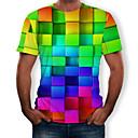 billiga Karriär- och yrkeskostymer-Tryck, 3D / Regnbåge T-shirt Herr Rund hals Regnbåge / Kortärmad