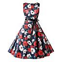ieftine Regina Vintage-Pentru femei Vintage De Bază Linie A Rochie - Imprimeu Cordon, Floral Lungime Genunchi