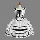 baratos Sapatos Lolita-Vintage Princesa Rococó Vestidos Fantasias de Cosplay Saia de Saltador Feminino Japanês Fantasias de Cosplay Rosa claro / Tinta Azul / Ivory Retalhos Sem Manga Até os Joelhos / Vitoriano
