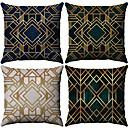 baratos Almofadas de Decoração-4.0 pçs Algodão / Linho Fronha, Geométrico Moderno Estampado Geométrico Fashion