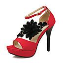 billige Sandaler til damer-Dame PU Sommer Vintage / Britisk Sandaler Stilethæle Åben Tå Spænde Sort / Rød / Fest / aften