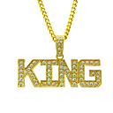 hesapli Uçlu Kolyeler-Erkek Kristal Uçlu Kolyeler franco zinciri Harf Avrupa moda Rock Yıldızı Moda Krom Altın Gümüş 76 cm Kolyeler Mücevher 1pc Uyumluluk Günlük Karnaval Cadde