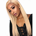 cheap Doll Wigs-Synthetic Lace Front Wig Straight Style Middle Part Lace Front Wig Golden Light Blonde Synthetic Hair 30 inch Women's with Baby Hair / Party / Women Golden Wig Very Long 180% Density Cosplay Wig