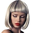 halpa Synteettiset peruukit ilmanmyssyä-Synteettiset peruukit / Otsatukat Kinky Straight Tyyli Bob-leikkaus Suojuksettomat Peruukki Valkoinen Sliver White Synteettiset hiukset 12 inch Naisten Muodikas malli / Pehmeä / Naisten Valkoinen