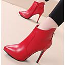 hesapli Kadın Botları-Kadın's Ayakkabı Deri Sonbahar Kış Çizmeler Stiletto Topuk Bootiler / Bilek Botları Günlük için Siyah / Kırmzı