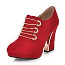 זול מגפי נשים-בגדי ריקוד נשים PU קיץ & אביב וינטאג' / בריטי מגפיים עקב עבה בוהן עגולה מגפונים\מגף קרסול שחור / אדום / כחול / חתונה