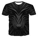 お買い得  メンズフーディー&スウェットシャツ-男性用 プリント Tシャツ ラウンドネック 3D / 動物 / カートゥン ブラック XXXXL