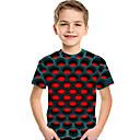 baratos Camisas para Meninos-Infantil Bébé Para Meninos Activo Básico Geométrica Estampado Estampado Manga Curta Camiseta Vermelho