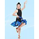 abordables Tenues de Danse Enfant-Danse latine / Tenues de Danse pour Enfants Robes Fille Utilisation Fibre de Lait Ruché Manches Courtes Taille haute Robe / Sous-vêtement