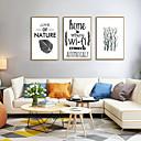 זול אומנות ממוסגרת-דפוס אומנות ממוסגרת סט ממוסגר - מופשט בוטני פוליסטירן איור וול ארט