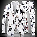 זול פדלים-לבן / שחור מעוטר גזרה צרה כותנה חליפה - פתוח Single Breasted One-button