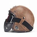 povoljno Kacige i potkape-unisex pu kožna kacige 3/4 moto chopper biciklistička kaciga otvorena lica vintage motociklistička kaciga s naočalom za masku