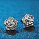 זול שרשרת אופנתית-בגדי ריקוד נשים עגילים צמודים קלאסי פרח מסוגנן פשוט מצופה כסף עגילים תכשיטים כסף עבור יומי עבודה זוג 1