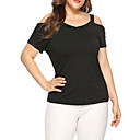 cheap Tattoo Stickers-Women's Plus Size T-shirt - Solid Colored V Neck Black XXL