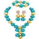 cheap Jewelry Sets-Women's Beads Jewelry Set Luxury, Fashion, Africa Include Drop Earrings Necklace Bracelet Turquoise / Hot Pink / Champagne For Wedding Party Graduation Engagement Festival