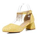 זול נעלי עקב לנשים-בגדי ריקוד נשים PU אביב קיץ וינטאג' / בריטי עקבים עקב עבה בוהן מחודדת שחור / צהוב / אדום / חתונה / מסיבה וערב