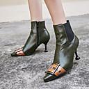 זול מגפי נשים-בגדי ריקוד נשים מגפיים Fashion Boots עקב קצר בוהן מחודדת PU מגפיים באורך אמצע - חצי שוק וינטאג' / בריטי סתיו חורף שחור / ירוק / מסיבה וערב