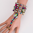 זול תכשיט לקרסול-בגדי ריקוד נשים צבעים מרובים צמידי טבעת גיאומטרי נסיכה הצהרה מסוגנן ארופאי אבן נוצצת צמיד תכשיטים כסף / קשת עבור יומי