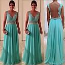 זול שמלות שושבינה-גזרת A מקורזל עד הריצפה שיפון / תחרה שמלה לשושבינה  עם חרוזים / אפליקציות על ידי JUDY&JULIA